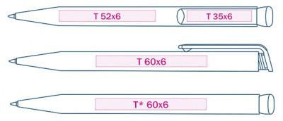 Макет ручки с допустимыми размерами нанесения логотипа методом зеркальной гравировки